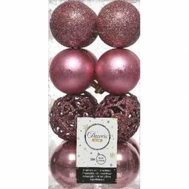 16x kunststof kerstballen mix oud roze 6 cm kerstboom versiering/decoratie