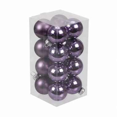 16x paarse kleine glazen kerstballen 3,5 cm mat/glans