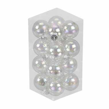 16x transparante parelmoer kleine glazen kerstballen 3,5 cm glan