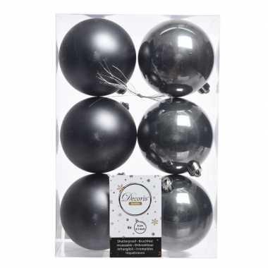 18x antraciet kerstballen van kunststof 8 cm