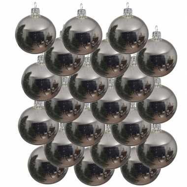 18x glazen kerstballen glans zilver 6 cm kerstboom versiering/decoratie