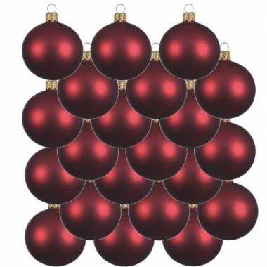 18x glazen kerstballen mat donkerrood 6 cm kerstboom versiering/decoratie