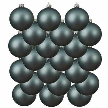 18x glazen kerstballen mat ijsblauw 8 cm kerstboom versiering/decoratie