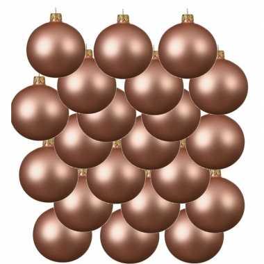18x glazen kerstballen mat roze 6 cm kerstboom versiering/decoratie