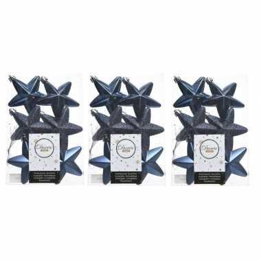 18x kunststof sterren kerstballen glans/mat/glitter donkerblauw 7 cm