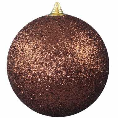 1x bruine grote kerstballen met glitter kunststof 13,5 cm
