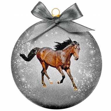1x dieren kerstballen met paarden 8 cm