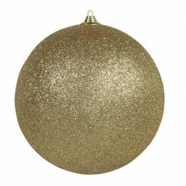1x gouden grote kerstballen met glitter kunststof 13,5 cm