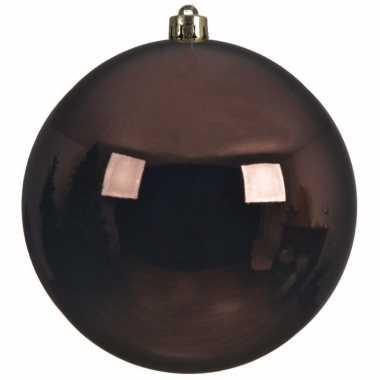 1x grote raam/deur/kerstboom decoratie donkerbruine kerstballen 20 cm glans