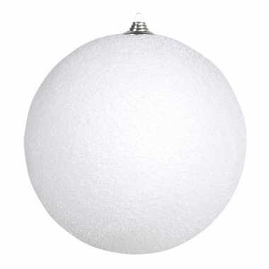 1x grote witte sneeuwbal kerstballen kunststof 13,5 cm