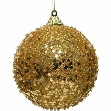 1x kerstballen gouden glitters 8 cm met glimmers kunststof kerstboom