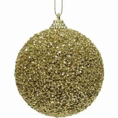 1x kerstballen gouden glitters 8 cm met kralen kunststof kerstboom ve