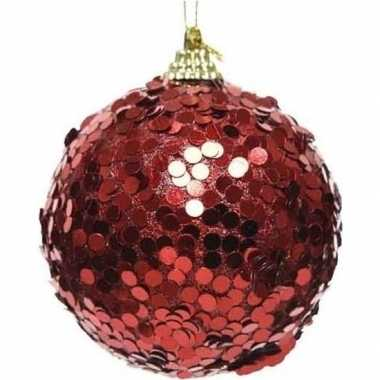 1x kerstballen kerst rode glitters 8 cm met confetti kunststof kerstb