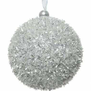 1x kerstballen zilver sneeuwbal 8 cm met glitterskunststof kerstboom
