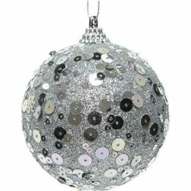 1x kerstballen zilveren glitters 8 cm met pailletten kunststof kerstb