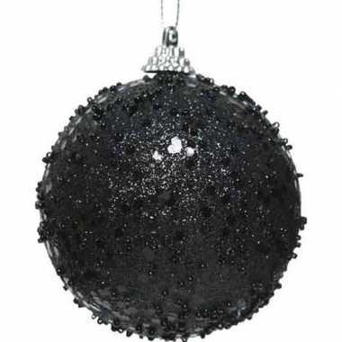1x kerstballen zwarte glitters 8 cm met glimmers kunststof kerstboom
