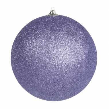 1x paarse grote kerstballen met glitter kunststof 18 cm