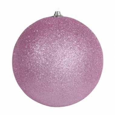 1x roze grote decoratie kerstballen met glitter kunststof 25 cm