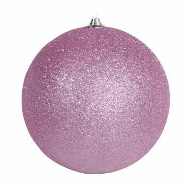 1x roze grote kerstballen met glitter kunststof 13,5 cm