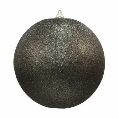 1x zwarte grote kerstballen met glitter kunststof 13,5 cm