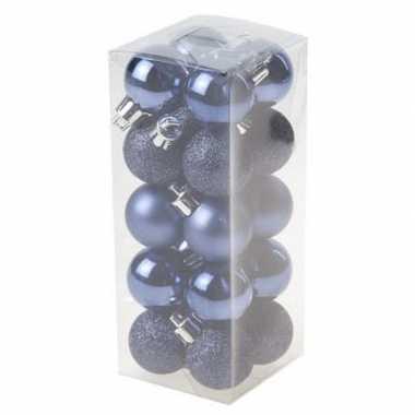 20x kerstboomversiering kerstballen donkerblauw 3 cm
