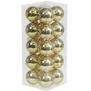 20x kunststof kerstballen glanzend goud 8 cm kerstboom versiering/decoratie