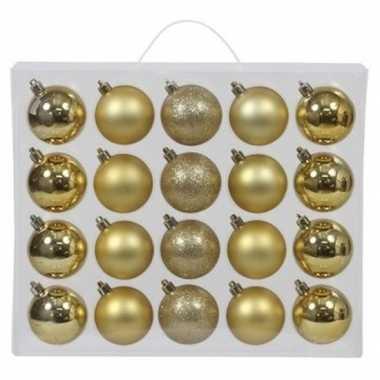 20x kunststof kerstballen glanzend/mat 6 cm kerstboom versiering/decoratie goud mix
