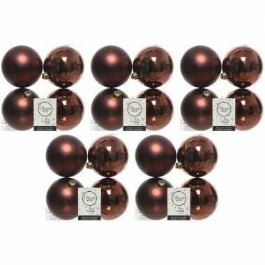 20x kunststof kerstballen glanzend/mat mahonie bruin 10 cm kerstboom versiering/decoratie