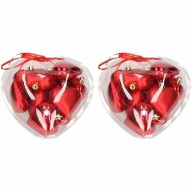 20x rode hartjes kerstballen kerstboomversiering
