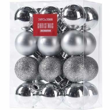 24x glans/mat/glitter kerstballen zilver 3 cm kunststof kerstboom versiering/decoratie