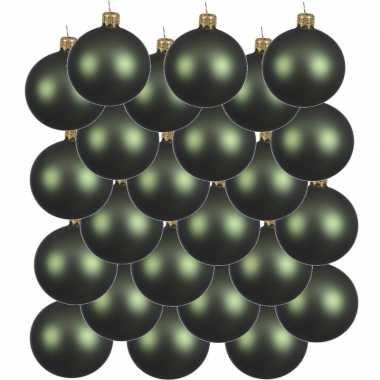 24x glazen kerstballen mat donkergroen 6 cm kerstboom versiering/decoratie