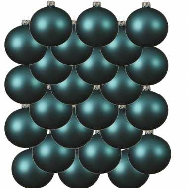 24x glazen kerstballen mat turquoise blauw 6 cm kerstboom versiering/decoratie