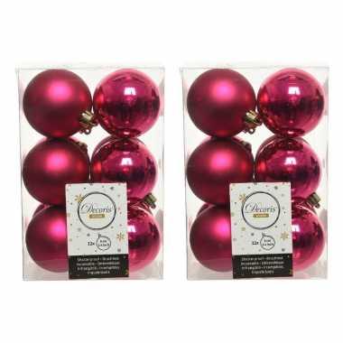 24x kunststof kerstballen glanzend/mat bessen roze 6 cm kerstboom versiering/decoratie