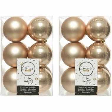 24x kunststof kerstballen glanzend/mat donker parel/champagne 6 cm kerstboom versiering/decoratie