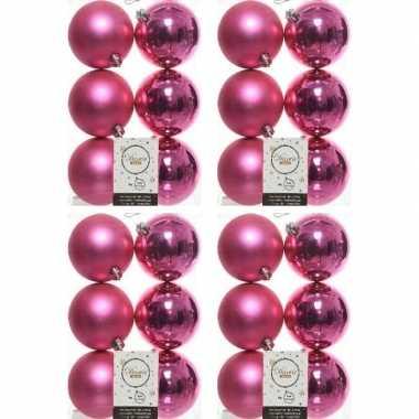 24x kunststof kerstballen glanzend/mat fuchsia roze 8 cm kerstboom versiering/decoratie fuchsia roze