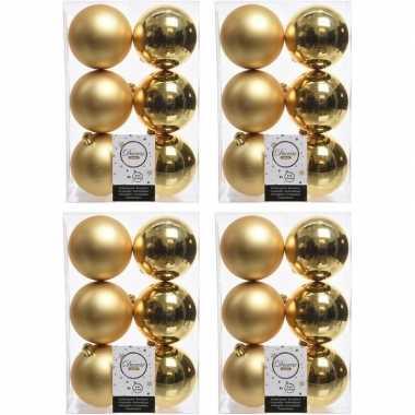 24x kunststof kerstballen glanzend/mat goud 8 cm kerstboom versiering/decoratie goud
