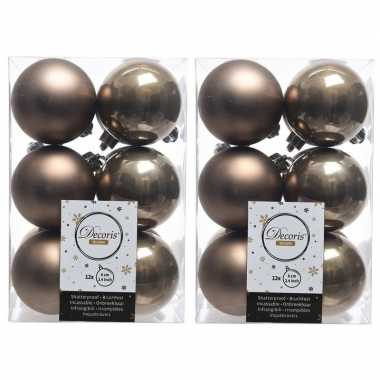 24x kunststof kerstballen glanzend/mat kasjmier bruin 6 cm kerstboom versiering/decoratie