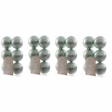 24x kunststof kerstballen glanzend/mat mintgroen 8 cm kerstboom versiering/decoratie mintgroen