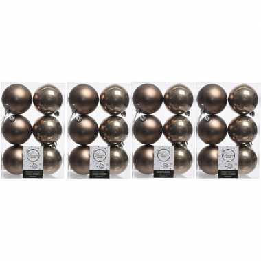 24x kunststof kerstballen glanzend/mat zwart 8 cm kerstboom versiering/decoratie kasjmier bruin