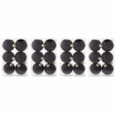 24x kunststof kerstballen glitter zwart 6 cm kerstboom versiering/decoratie