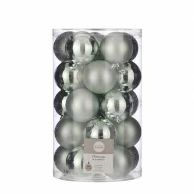 25x kunststof kerstballen mint groen 8 cm