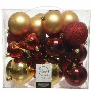 26 stuks kunststof kerstballen mix goud-rood 6, 8, 10 cm