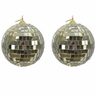 2x gouden spiegelballen disco kerstballen 10 cm