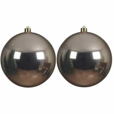 2x grote raam/deur/kerstboom decoratie champagne beige kerstballen 14 cm glans