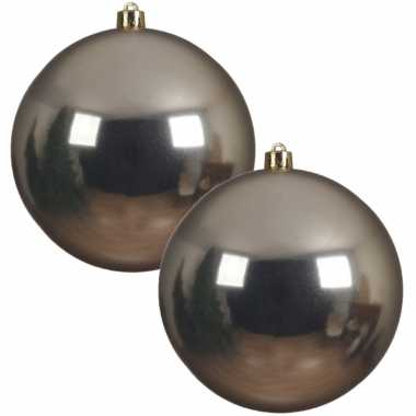 2x grote raam/deur/kerstboom decoratie champagne beige kerstballen 20 cm glans