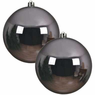 2x grote raam/deur/kerstboom decoratie lila paarse kerstballen 20 cm glans