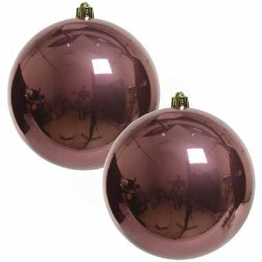 2x grote raam/deur/kerstboom decoratie oud roze kerstballen 20 cm glans