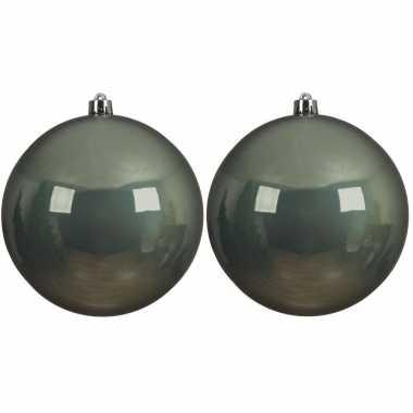2x grote raam/deur/kerstboom decoratie salie groene kerstballen 14 cm glans