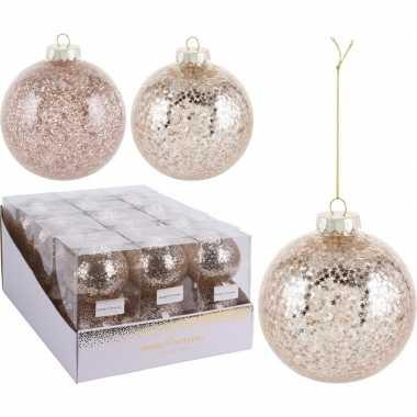 2x kerstballen goud 10 cm kunststof kerstboom versiering/decoratie
