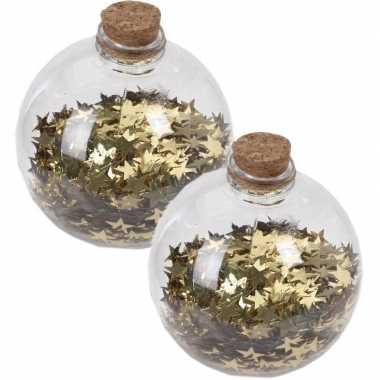 2x kerstballen transparant/goud 8 cm met gouden sterren kunststof kerstboom versiering/decoratie